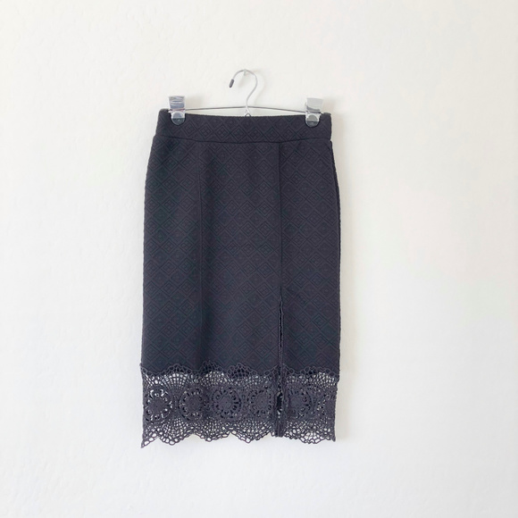 Free People Dresses & Skirts - Free People Black Pencil Skirt with Crochet Trim